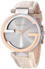 グッチ 時計 Gucci Womens YA133303 Interlocking White Crocodile Pink Gold and Steel Watch