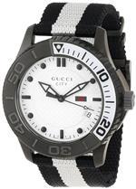 グッチ 時計 Gucci Mens YA126243 Gucci Timeless White Diamond Pattern Dial Watch