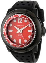 グラムロック 時計 Glam Rock Mens MB26018 Miami Beach Rescue Team Red Dial Black Silicone Watch