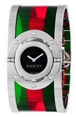 グッチ 時計 Gucci Womens YA112417 Twirl Medium Green Red Green Acetate Bangle Watch