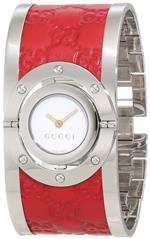 グッチ 時計 Gucci Womens YA112435 Twirl Red Guccissima Leather Bangle Watch