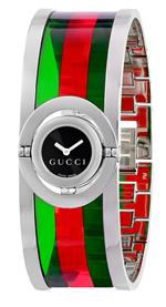 グッチ 時計 Gucci Womens YA112517 Twirl Small Green Red Acetate Bangle Watch
