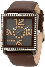 ハウレックスイタリア 時計 Haurex Italy Womens BM369DMM Diverso Pc Square Swarovski Brown Watch