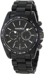 ハウレックスイタリア 時計 Haurex Italy Mens N0366UNN Aston Black Multi-Function Watch