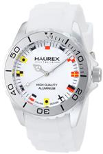 ハウレックスイタリア 時計 Haurex Italy Mens Ink White Rubber Band Flag-Like Indices Aluminum Watch