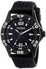 ハウレックスイタリア 時計 Haurex Italy Factor Black IP Steel Rotating Bezel Date Watch 3N500USN