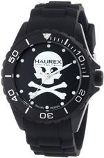 ハウレックスイタリア 時計 Haurex Italy Mens 1K374UNS Ink Black Dial with White Skull Rubber Band