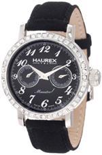 ハウレックスイタリア 時計 Haurex Italy Womens 6S343DN1 Maestro R Black Dial Crystal Watch