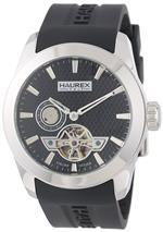 ハウレックスイタリア 時計 Haurex Italy Mens CA501UNN Magister Auto Black dial watch.