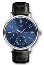 アイダブルシー 時計 IWC Portofino Blue Dial Black Leather Mens Watch IW510106