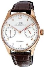 アイダブルシー 時計 IWC Portuguese Silver Dial 18kt Rose Gold Brown Leather Strap Automatic Mens