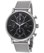 アイダブルシー 時計 IWC Portfonio Chronograph Automatic Black Dial Steel Mens Watch IW391010