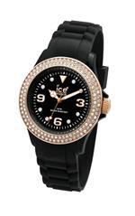 アイス 時計 Ice-Watch Womens ST.BK.S.S.09 Stone Sili Collection Black and Gold Silicone Watch