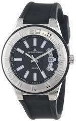 ジャックルマン 時計 Jacques Lemans Mens 1-1785A Miami Sport Analog Black Silicone Strap Watch