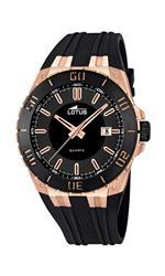 ロータス 時計 Lotus R Mens Quartz Watch with Black Dial Analogue Display and Black Rubber Strap