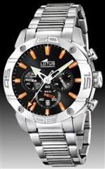 ロータス 時計 Lotus Mens CRONO L15643/4 Silver Stainless-Steel Analog Quartz Watch with Black Dial