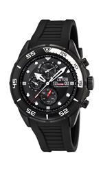ロータス 時計 Lotus Mens ALARM CHRONO L15678/2 Black Polyurethane Quartz Watch with Black Dial