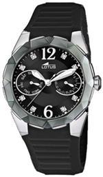 ロータス 時計 Lotus Womens Cool L15731/3 Black Rubber Quartz Watch with Black Dial