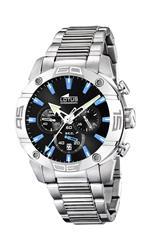 ロータス 時計 Lotus Mens L15643/5 Silver Stainless-Steel Quartz Watch with Black Dial