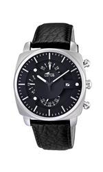 ロータス 時計 Lotus Mens Quartz Watch with Black Dial Chronograph Display and Black Leather Strap
