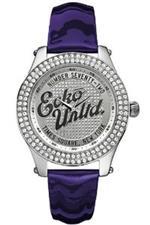 マークエコー 時計 Marc Ecko Ladies Watch E10038M3 With Rollie Silver Dial And Purple Patent Strap