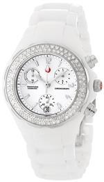 ミッシェル 時計 Michele Womens MWW12A000001 Ceramic Analog Textured White Enamel and Diamonds Watch