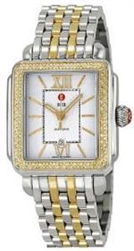 ミッシェル 時計 Michele Signature Deco Diamond Silver Guilloche Two-Tone Ladies Watch MWW06T000061