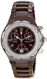 ミッシェル 時計 Michele Womens MWW12A000011 Tahitian Diamond Ceramic Chocolate Chronograph Watch