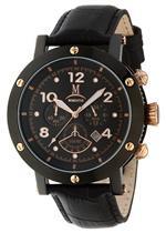 モメンタス 時計 Momentus Leather Band Black Dial Red Gold Ion Bezel Mens Watch TM186E-04BR
