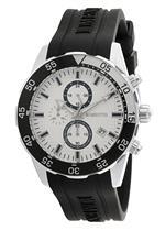 モメンタス 時計 Momentus Black Rubber Band amp White Dial Chronograph Mens Watch FS310S-02RB
