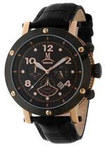 モメンタス 時計 Momentus Leather Band Red Gold Ion Bezel Chronograph Mens Watch TM186R-04BR