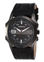 モメンタス 時計 Momentus Stainless Steel with Black Leather Band amp Dial Mens Watch FS309E-04BE