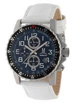モメンタス 時計 Momentus Stainless Steel White Leather Blue Dial Chrono Mens Watch FS282S-05BS