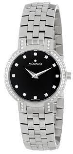 モバード 時計 Movado Womens 605586 Faceto Diamond Accented Stainless-Steel Watch