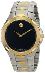 モバード 時計 Movado Mens 606381 Luno Sport Two-Tone Black Round Dial Bracelet Watch