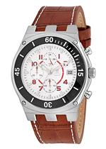 モメンタス 時計 Momentus Brown Leather Band amp White Dial Chronograph Mens Watch FD232S-02BS