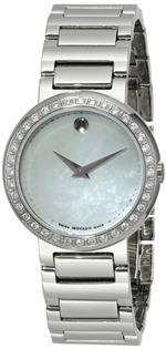 モバード 時計 Movado Womens 0606421 Concerto Stainless-Steel and Diamonds White Mother-Of-Pearl Dial
