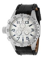 モメンタス 時計 Momentus Black Leather Band White Dial Chronograph Mens Watch TM246S-02BS