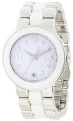 モバード 時計 Movado Womens 0606540 Cerena Stainless Steel/White Ceramic Case Watch