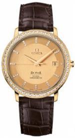 オメガ 時計 Omega Deville Prestige Champagne Dial 18kt Rose Gold Brown Alligator Leather Ladies