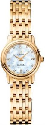 オメガ 時計 Omega DeVille Prestige Mother of Pearl Diamond Dial 18kt Yellow Gold Ladies Watch