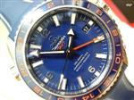 オメガ 時計 Omega Seamaster Planet Ocean Blue Dial Leather Mens Watch 23232442203001