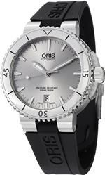 オリス 時計 Oris Aquis Date Silver Dial Black Rubber Mens Watch 01 733 7676 4141-07 4 21 34