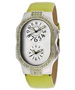 フィリップ ステイン 時計 Womens Dual Time Light Silver Dial Light Green Genuine Textured Leather