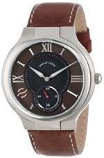 フィリップ ステイン 時計 Philip Stein Mens 42-BRN-CSTDBR Round Brown Dial Dark Brown Stitched Calf