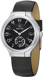 フィリップ ステイン 時計 Philip Stein Signature Round Black Satin Leather Strap Black Dial Watch