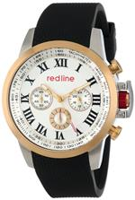 レッドライン 時計 red line Mens RL-60051 Chronograph Silver Dial Black Textured Silicone Watch
