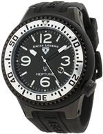 スイスレジェンド 時計 Swiss Legend Mens 21818P-BB-01-SA Neptune Black Dial Black Silicone Watch
