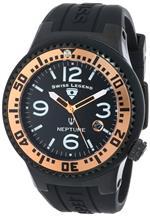 スイスレジェンド 時計 Swiss Legend Mens 21848P-BB-01-RA Neptune Black Dial Black Silicone Watch
