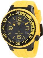 スイスレジェンド 時計 Swiss Legend Mens 21848P-BB-01-YBL Neptune Black Dial Yellow Silicone Watch